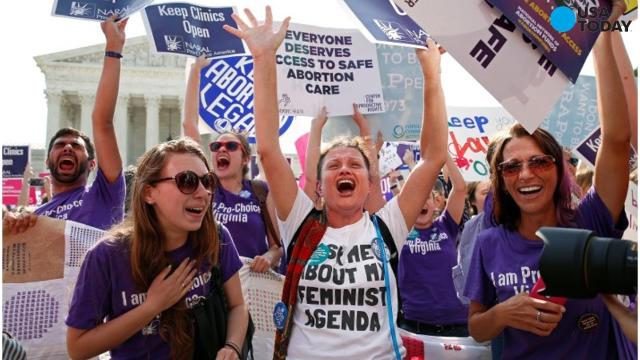 Pro-abortion rights protesters demonstrate outside the Supreme Court in March.