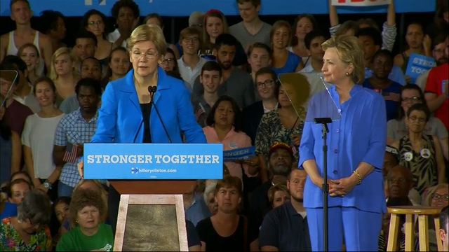 Elizabeth Warren pairs with Democratic presumptive nominee Hillary Clinton in Cincinnati for their first joint campaign event. She's mobilizing her forces behind Clinton, lending her presidential bid a powerful boost of liberal credibility. (June 27)