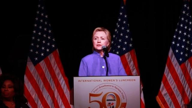 Presumptive Democratic presidential nominee Hillary Clinton campaigns in Chicago, calling for more gun control.Video provided by AFP