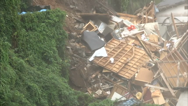Raw: House Topples Over in Japan after Landslide
