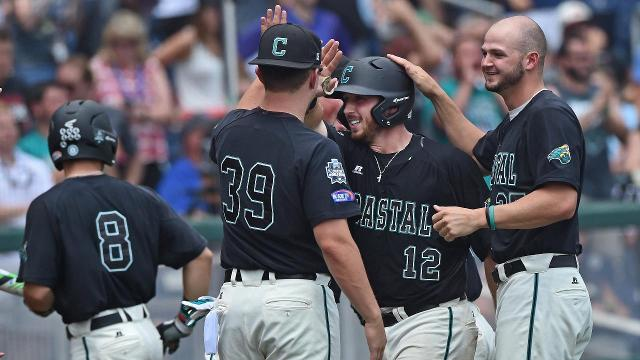 Coastal Carolina defeated the Arizona Wildcats 4-3 on Thursday afternoon to win the school's first ever College World Series.