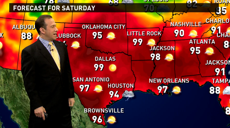 The national weather forecast for Saturday, July 2nd calls for sizzling temperatures in the South, bringing some storms and showers in the Midwest.