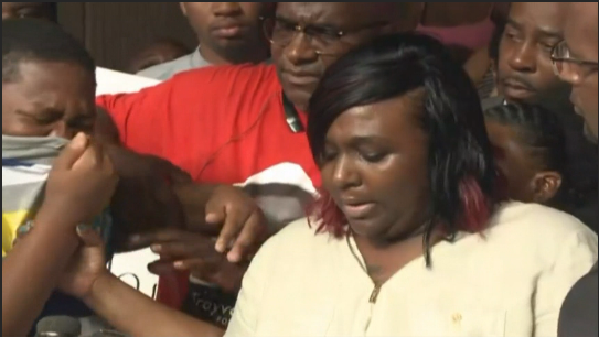 Son of man shot by Baton Rouge police sobs at news conference