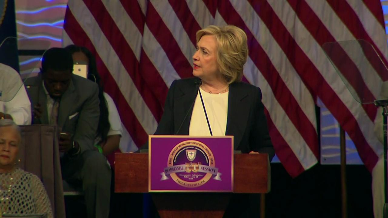 Hillary Clinton speaks at the African Methodist Episcopal church national convention in Philadelphia on July 8, 2016.