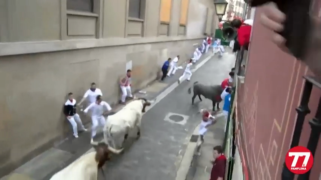 Raw: Man Gored on Third Day of Pamplona Bull Run