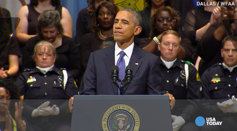Obama lauds Dallas police, city at memorial service
