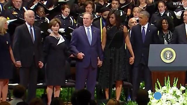 George's jig: Bush's dance at Dallas memorial goes viral