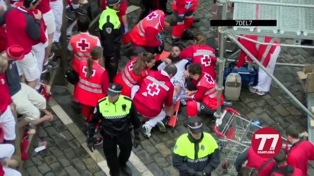 Spanish medical officials said that an American was gored and four other runners were injured in the second-last running of the bulls at Pamplona's San Fermin festival. (July 13)