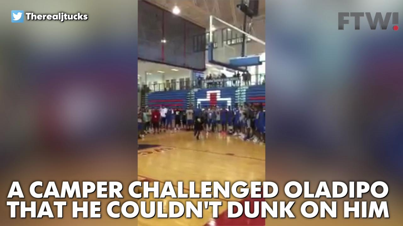 Watch as Victor Oladipo ruthlessly dunks on a camper.