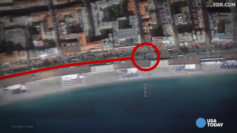 An animated video shows the devastating path of destruction that a truck took when it plowed into a crowd in Nice, France.