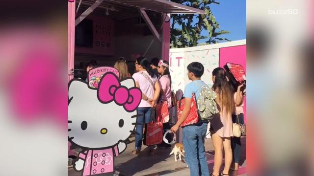 The long-awaited Hello Kitty Cafe finally opened in Orange County, Calif., unleashing cuteness on customers who had to wait in very long lines.
