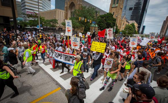 Peaceful protests as the 2016 Republican National Convention begins