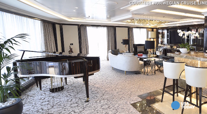 Norwegian Cruise Line spared no expense with its brand new Regent Suite aboard the Regent Seven Seas Explorer. The stunning suite includes a custom Steinway piano, heated chaise lounges in a private sauna, and a $150,000 bed.