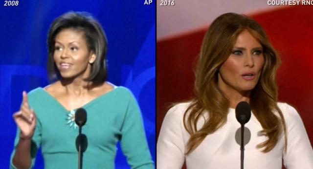 Melania Trump addresses the GOP convention in Cleveland on July 18, 2016.