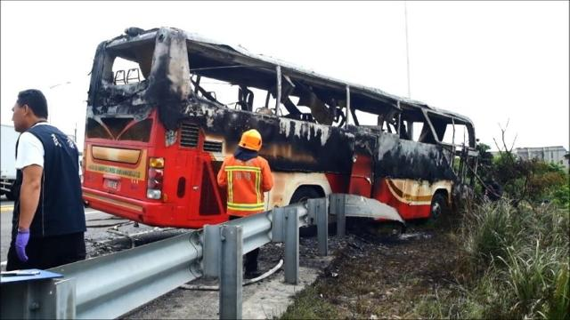 A fire ripped through a bus carrying tourists from China in Taiwan Tuesday, killing all 26 on board in the worst road accident to hit mainland visitors since a holiday boom to the island. Video provided by AFP