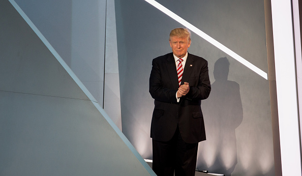 Donald Trump during rehearsal on Thursday at the Republican National Convention.