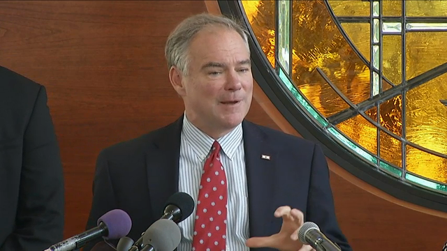 """Virginia Sen. Tim Kaine Thursday deflected a question about whether he wanted to be Hillary Clinton's running mate, only saying he's """"not looking for another job."""""""