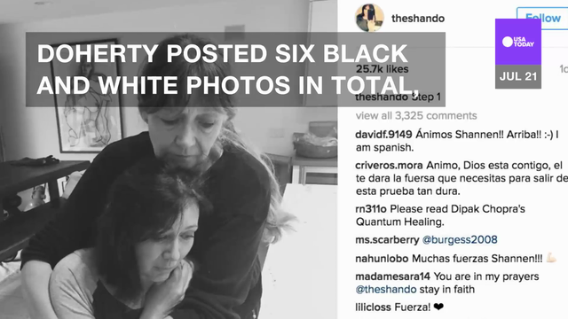 Shannen Doherty posted a series of emotional photos Tuesday night on her Instagram showing her in the process of shaving her head Doherty.