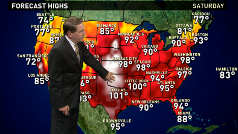The national weather forecast for Saturday, July 23rd calls for extreme temperatures to continue in the heartland and Southwest as thunderstorms hit the Southeast and the Rockies.