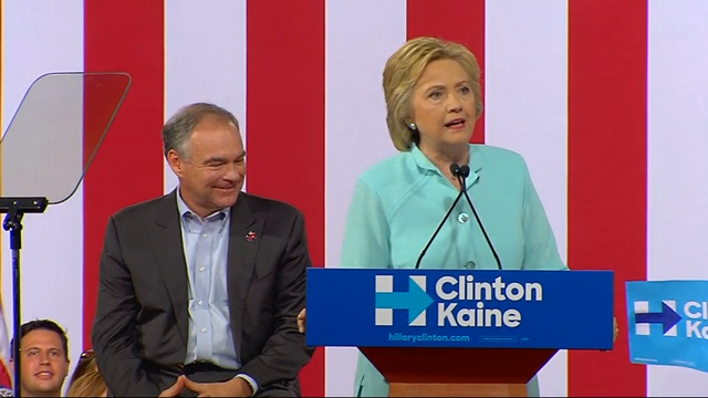 "Hillary Clinton took the stage with Virginia Sen. Tim Kaine Saturday for the first time since making the announcement to supporters Friday. Clinton described Kaine as a progressive who ""likes to get things done."" (July 23)"