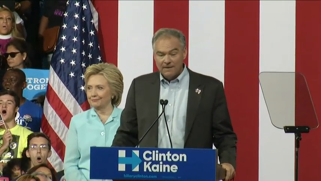 Sen. Tim Kaine is using his debut appearance as Hillary Clinton's running mate on Saturday to introduce himself to voters. He offered a tough assault on Donald Trump, and then added that Clinton is the opposite of him. (July 23)