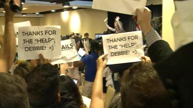 Outgoing Democratic National Committee chair Debbie Wasserman Schultz was booed off stage after she took the podium at a pre-convention breakfast in Philadelphia.