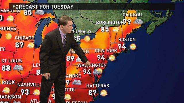 Tuesday's forecast: Cold front brings rain in East