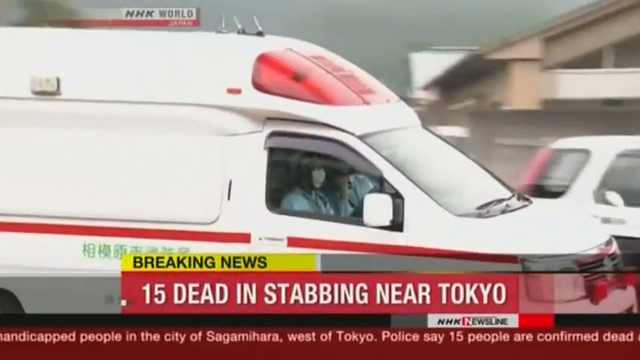 Japan's national broadcaster NHK is reporting that 15 people were killed and 45 injured in a knife attack at a facility for the handicapped in Sagamihara, just outside Tokyo. (July 25)