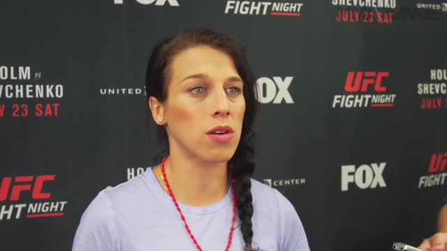 Joanna Jedrzejczyk media scrum at UFC on FOX 20