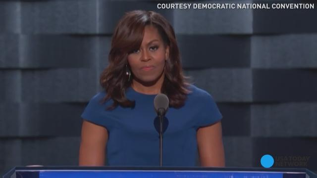 The first lady talks about how her girls play in a house built by slaves, and how future generations will take the fact that a female can be president for granted, thanks to Hillary Clinton.