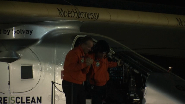 The Solar Impulse 2 plane has landed in Abu Dhabi more than a year after its initial take off, completing the first round-the-world flight to be powered solely by the sun's energy. (July 26)
