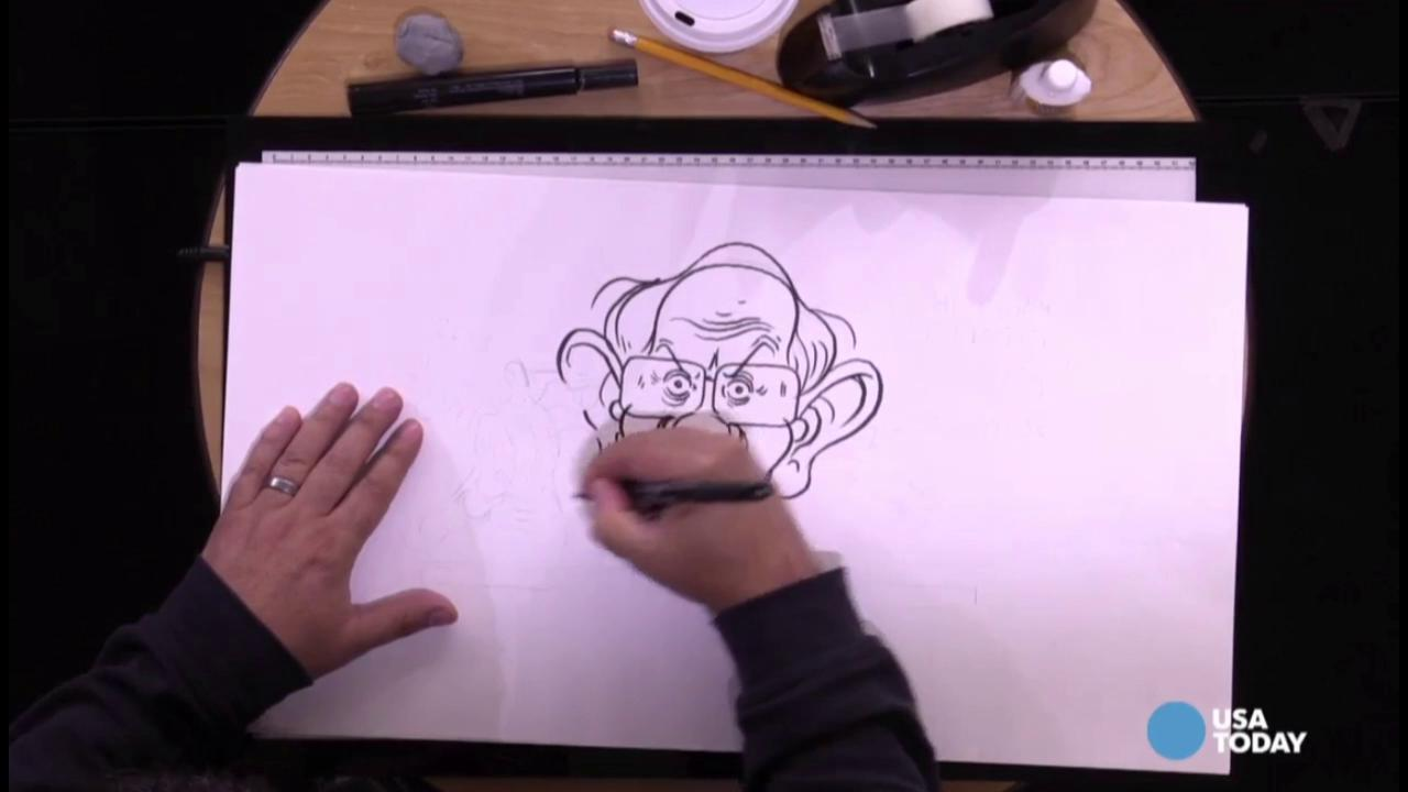 USA TODAY Art Director Jeff Dionise draws Bernie Sanders