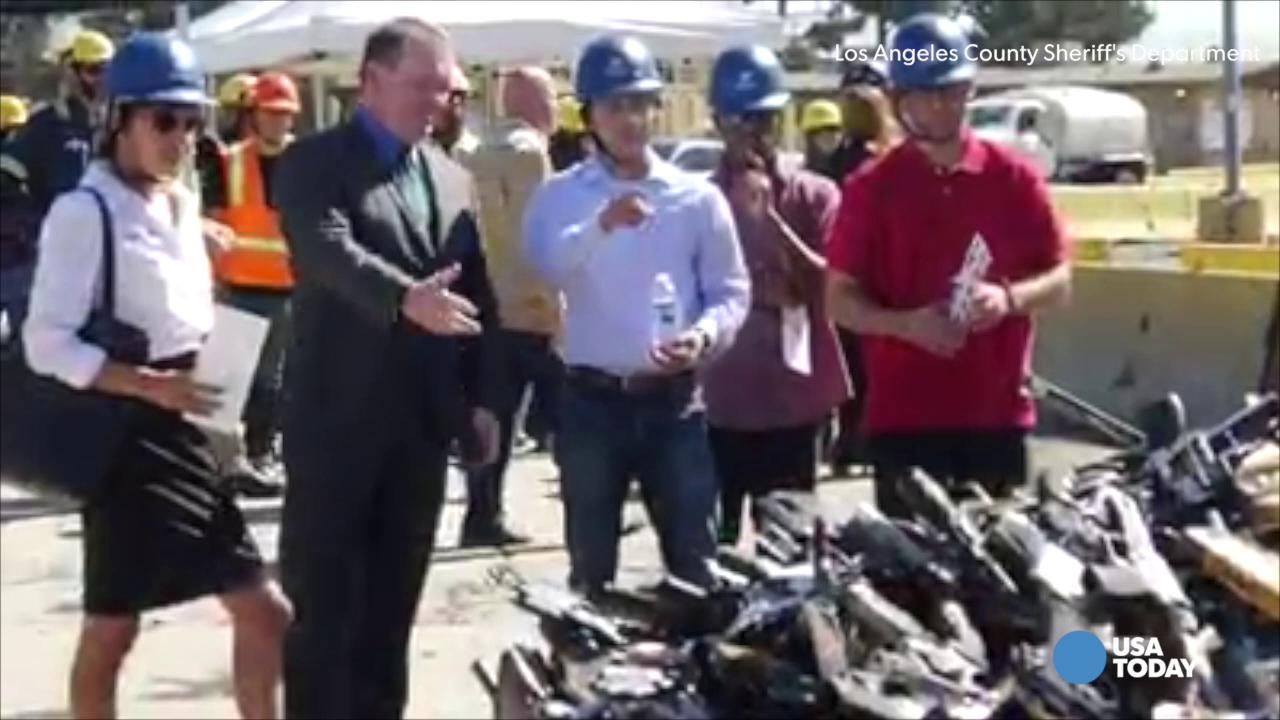 VIDEO: L.A. Sheriff melts down 7,000 guns into metal for public roads
