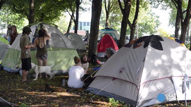 DNC protesters camp in park