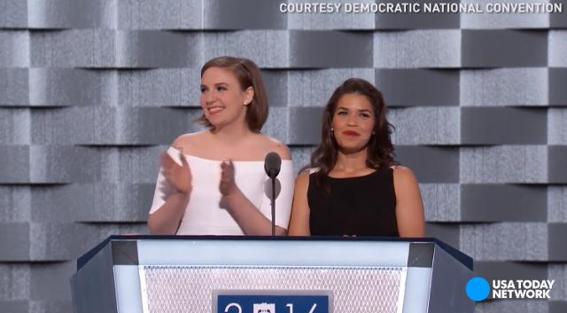 Celebrities Lena Dunham and America Ferrera poked a couple jokes at Donald Trump while fully endorsing Democratic nominee Hillary Clinton at the Democratic National Convention.
