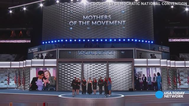 Members of Mothers of the Movement take the stage during the Democratic National Convention on July 26, 2016, in Philadelphia.