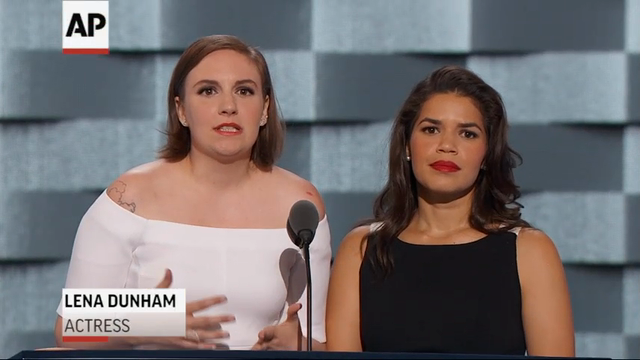 Tuesday's Democratic National Convention had a star-studded lineup of speakers including Meryl Streep and Lena Dunham. Actress Elizabeth Banks walked to the podium in white fog, mocking a similar entrance at the GOP convention by Donald Trump. (July 26)