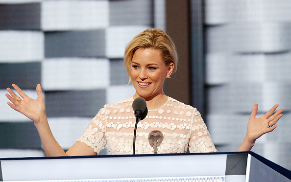 Actress Elizabeth Banks speaks during the second day