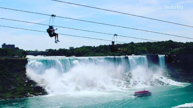 Terrifying zipline has best vantage point of Niagara Falls