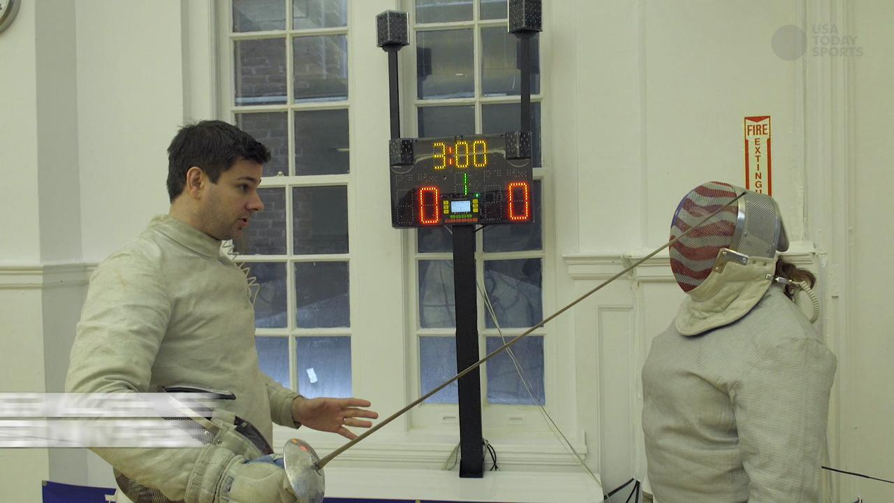 USA Today Sports' Maggie Hendricks gets a personal fencing lesson from Team USA Olympian Tim Morehouse.