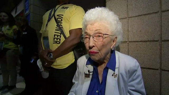 The honorary chair of the Arizona Democratic delegation, 102-year-old Jerry Emmett, admits she is getting tired of the limelight, but also says she wouldn't be anywhere else.  (July 27)
