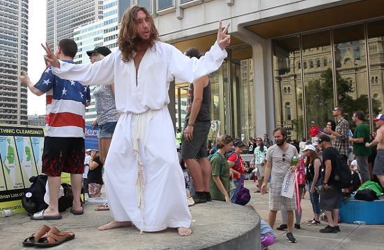 Jesus makes an appearance at protests outside of the DNC