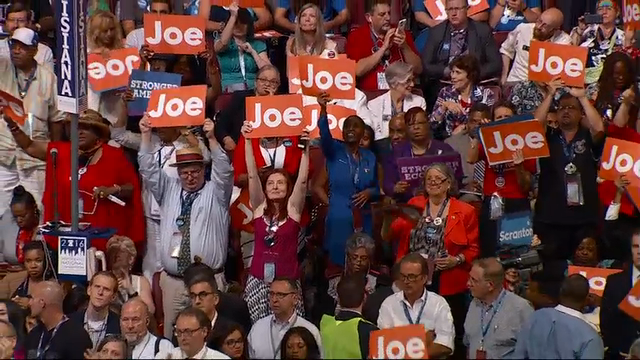 """Vice President Joe Biden wrapped up his speech to the Democratic convention on Wednesday by making a forceful case for American exceptionalism. He said Hillary Clinton is the """"only candidate who will be there"""" for Americans. (July 27)"""