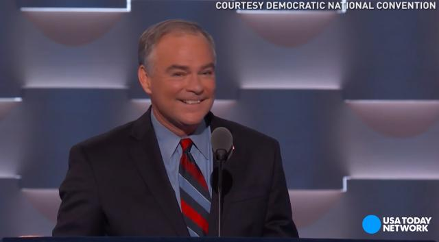Tim Kaine accepted his vice presidential nomination with a speech that included an impression of Donald Trump that got the whole convention laughing.