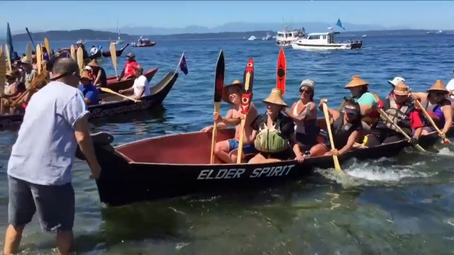 Dozens of tribal canoes were arriving at Alki Beach in Seattle Wednesday as part of an annual Native American celebration. (July 27)