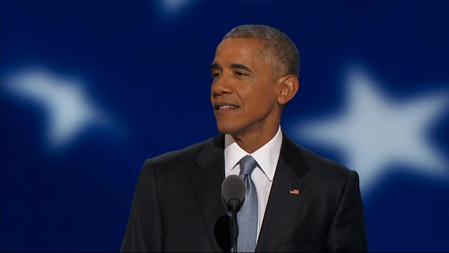 President Barack Obama opened his speech Wednesday night by recalling his first time speaking at the Democratic National Convention on the third night of the party's convention in Philadelphia. (July 27)