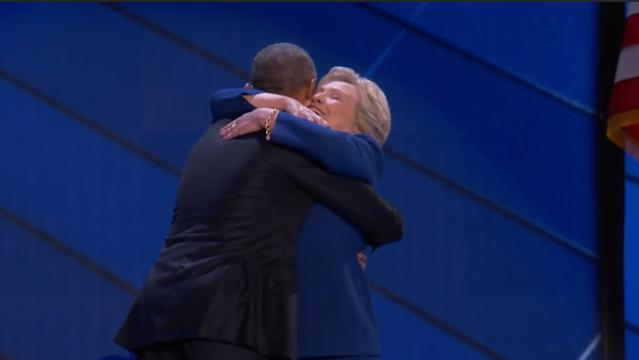 Hillary Clinton surprised the crowd at the Democratic National Convention by walking out onstage after President Obama's speech. The pair shared a hug, to the delight of the crowd.