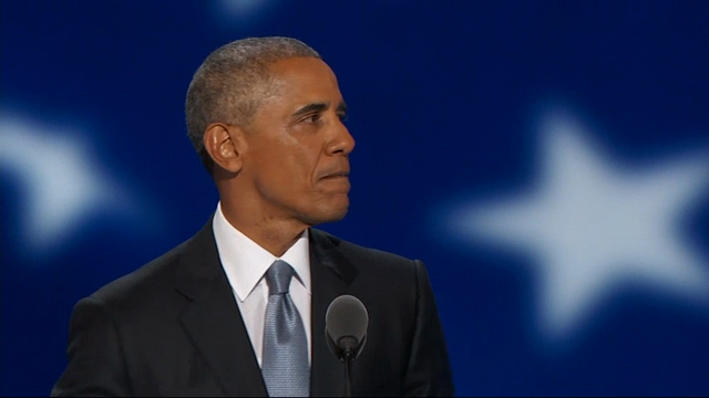 In an emotional convention speech, President Barack Obama told Democrats he's ready to 'pass the baton' to Hillary Clinton, and urged America to vote for her and for an optimistic future. (July 28)
