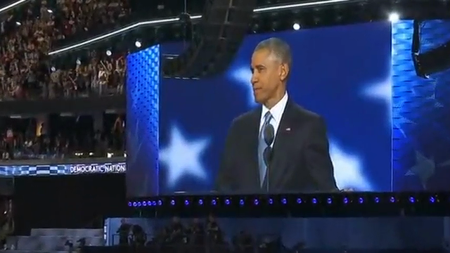 President Obama and Vice Presidential candidate Tim Kaine were among the featured speakers at the Democratic National Convention on Wednesday. They talked about Clinton's record and their trust in her judgement. (July 28)