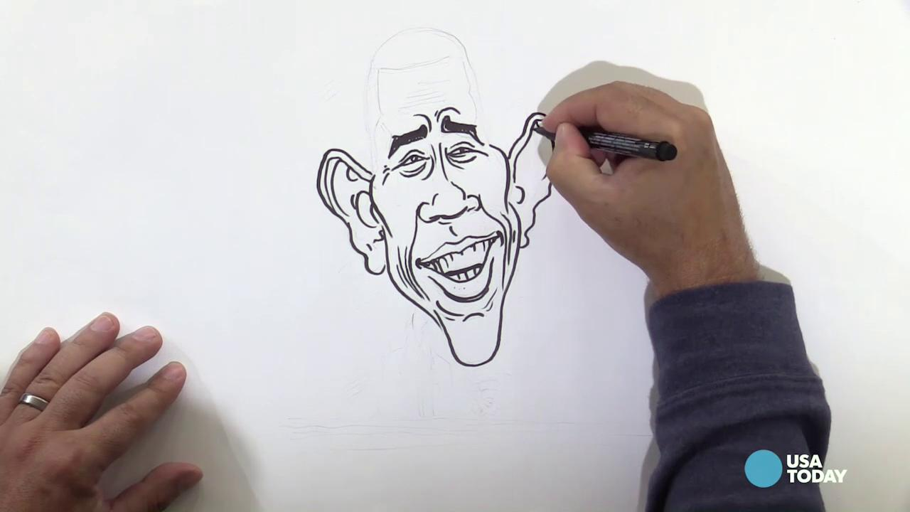 USA TODAY Art Director Jeff Dionise draws President Obama